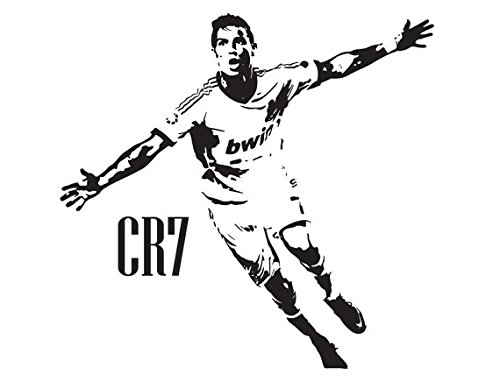 Beautiful Game Cristiano Ronaldo CR7 Wandtattoo Real Madrid, groß, Schwarz