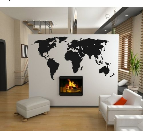 XXL Wandtattoo WELTKARTE - World Map Wandaufkleber Wandsticker Motiv  Abstract ( Groesse: 140x73cm)