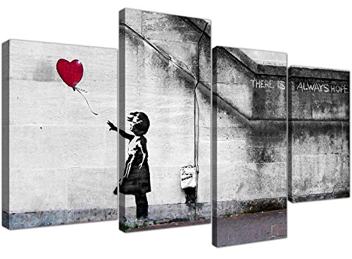 Wallfillers Canvas Kunstdruck auf Leinwand Motiv: Balloon Girl 4050