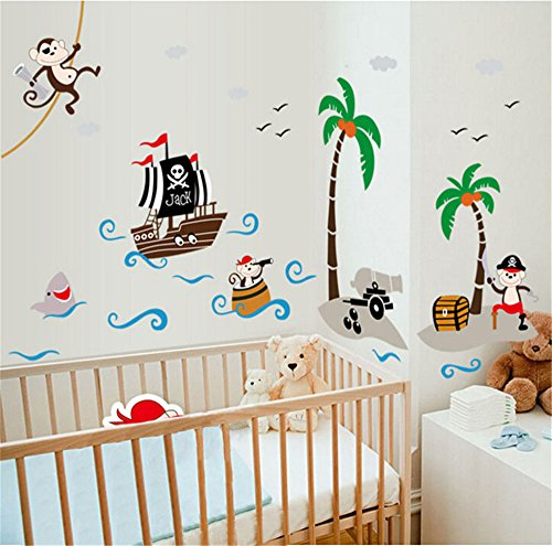 wandtattoo pirat auf piratenschiff f rs kinderzimmer. Black Bedroom Furniture Sets. Home Design Ideas