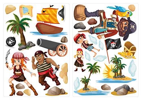 Wandtattoo Pirat auf Piratenschiff fürs Kinderzimmer
