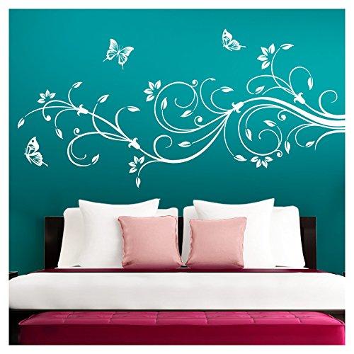 Wandtattoo Blumenranke Mit Schmetterling