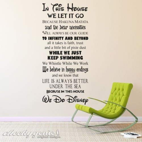 This House We Do Disney  für Kinder und Disney Fans englischer Sprache, Vinyl, schwarz,  Medium  SIZE 90cm x 45cm (36  x 18 )