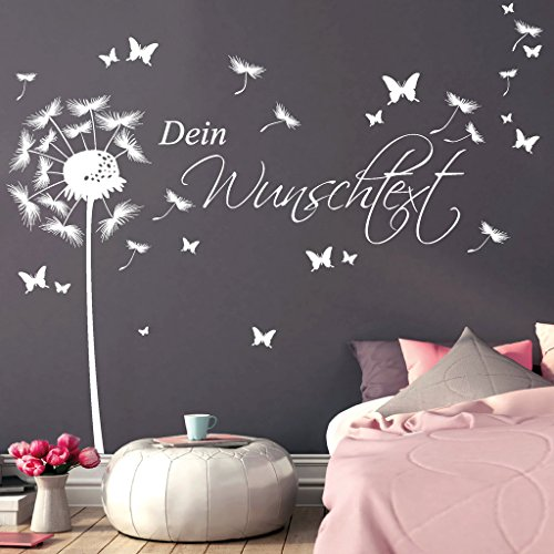 wandtattoo loft wandaufkleber pusteblume schmetterling mit. Black Bedroom Furniture Sets. Home Design Ideas