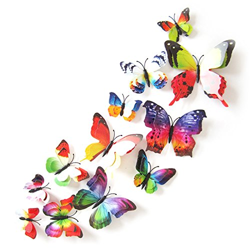 4 8CM Lazzboy 12 PCS 3D Schmetterlinge Wanddeko Aufkleber Abziehbilder Aufkleber Hauptdekorationen Wandtattoo Schmetterlings Regenbogen Kinder 4 4 A, 12CM 10CM