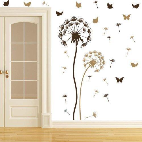 wandtattoo pusteblume set braun hellbraun sowie 10 schmetterlinge und 21 flugsamen gro e blume. Black Bedroom Furniture Sets. Home Design Ideas