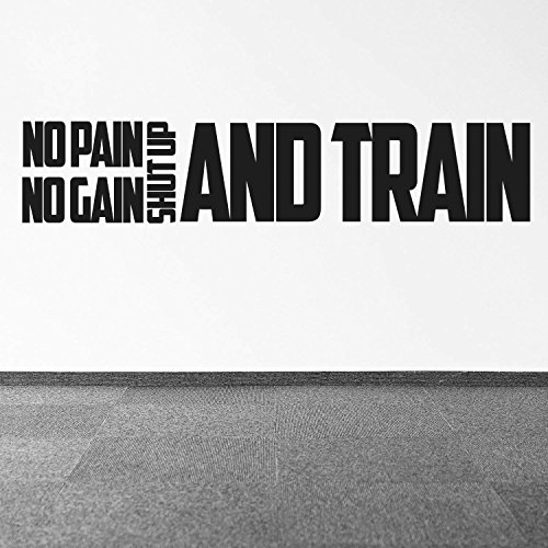 Dozili mit inspirierenden Zitaten No Pain No Gain Shut Up and Train, 25,4 x 127, für Workout, Vinyl, Sport (schwarz)