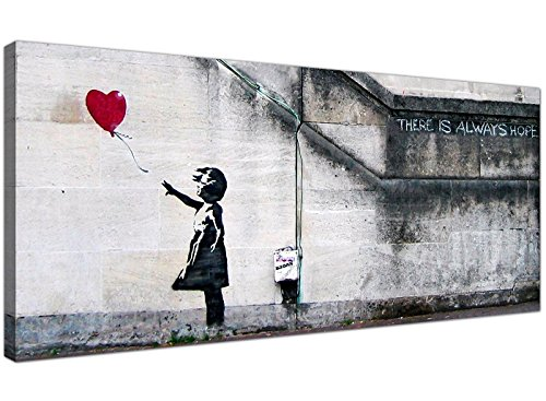 Large Canvas Prints of Banksy's Girl with the Red Balloon for your Dining Room - Graffiti Wall Art - 1050 - WallfillersÃ'® by Wallfillers
