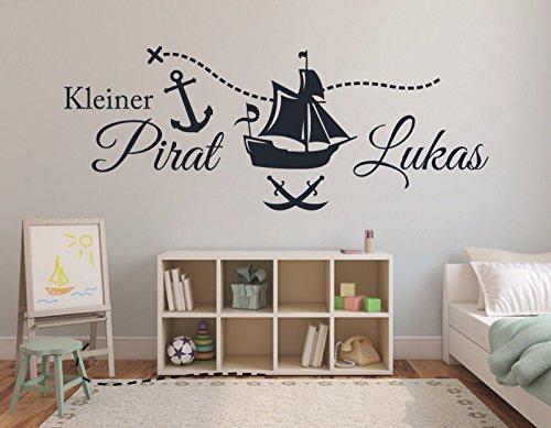 Tjapalo® 120cm Pkm69 Wandtattoo Kinderzimmer Junge Kleiner Pirat Mit Namen  Piratenschiff Mit Name