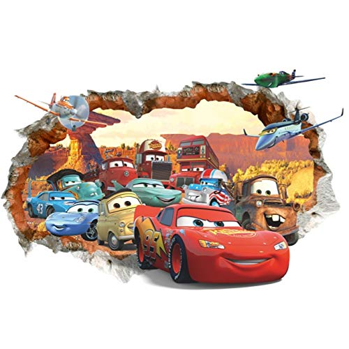 Kibi 3D Aufkleber Cars Wandtattoo Cars Wandaufkleber Cars 3 Wandsticker Cars Disney Wandtattoo Cars Kinderzimmer, Dekoration Abnehmbare Aufkleber Wall stickers XXL