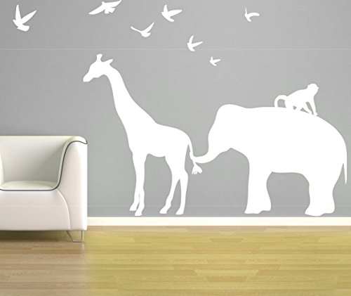 customwallsdesign Elefant Giraffe Wand Aufkleber, Vinyl Elefant Vinyl Giraffe Zoo Line Safari Jungle Silhouette Kinderzimmer