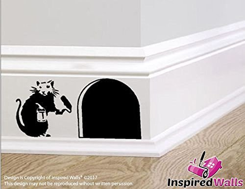 Maus Hole  Small Rat with Paint Tin and Roller  Skirting by Inspired Walls®