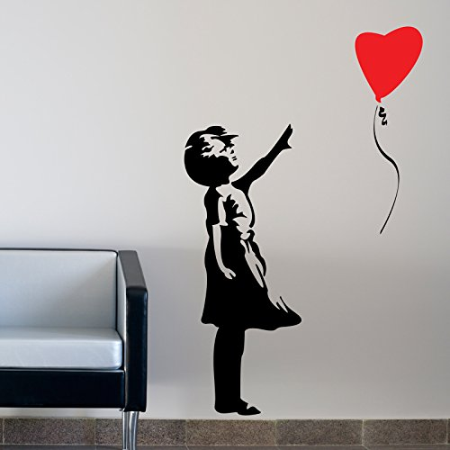 THE VINYL BIZ Balloon Girl WANDTATTOO WANDAUFKLEBER Wall Sticker Decal Xtra Große 150 cm x 75 cm