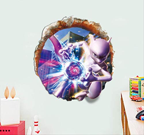 hzcl Pocket Monster Mewtwo Break Wall 3D Stickers Baby Pokemon Pikachu Anime Vinyl Decals Kids Room Decoration Cartoon Poster