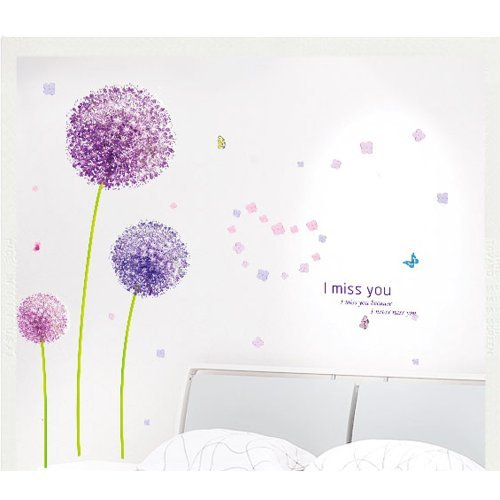 wandtattoo pusteblume mit schmetterling oder v gel. Black Bedroom Furniture Sets. Home Design Ideas
