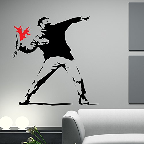 Hooligan with Flowers WANDTATTOO WANDAUFKLEBER WALL STICKER Decals