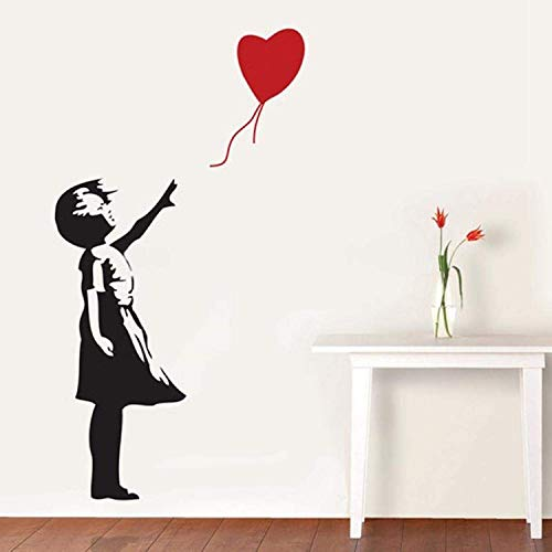 GIRL WITH HEART BALLOON VINYL WALL ART DECAL STICKER 120CM (H) X 60CM (W) by WALL STICKER WORLD