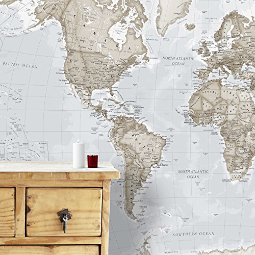 Maps International Giant Weltkarte Wandbild - Wand-Dekoration, 232 cm (W) X 158 cm (H), Cremefarben