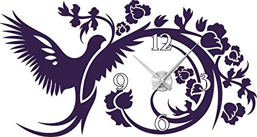 Wandtattoo Uhr Wanduhr Vogel mit Blumen Wohnzimmer Wanddeko (Uhrwerk
