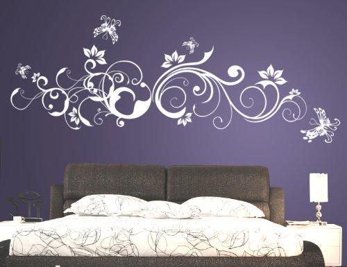 Wandtattoo Blumenranke Weiß : Wandtattoo Blumenranke
