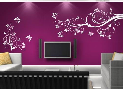 Wandtattoo Blumenranke Weiß : Wandtattoo Ranke Blumen Blumenranke Wandaufkleber walltattoo wall