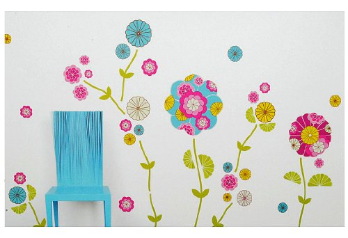 Wandtattoo blumen ornament lila schwarz for Deko sticker kinderzimmer