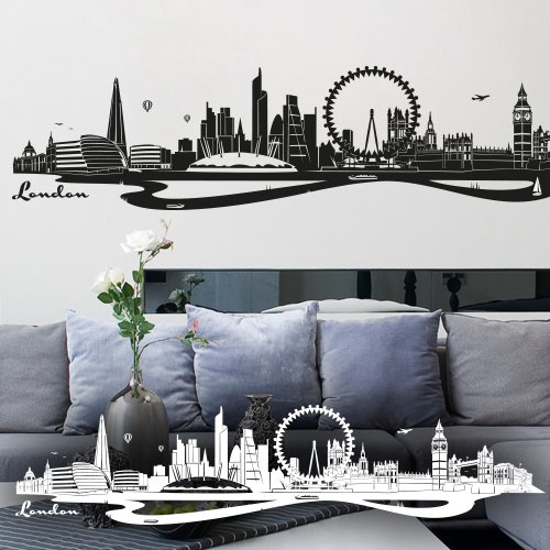 wandtattoo london skyline big ben london eye. Black Bedroom Furniture Sets. Home Design Ideas
