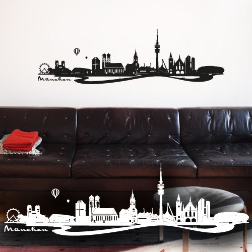 wandtattoo m nchen skyline. Black Bedroom Furniture Sets. Home Design Ideas