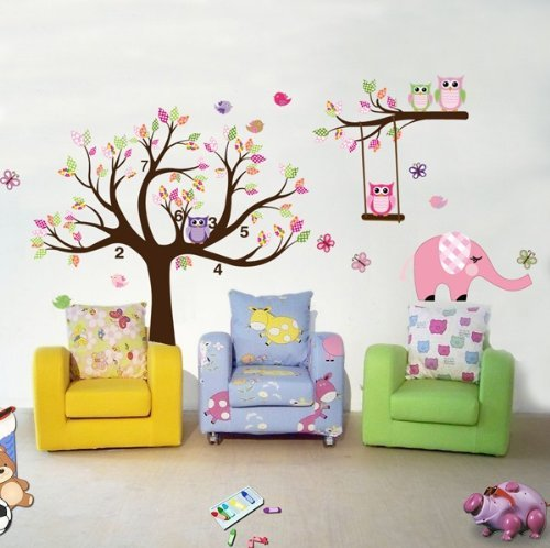 wandtattoo eule auf ast baum f rs kinderzimmer oder. Black Bedroom Furniture Sets. Home Design Ideas