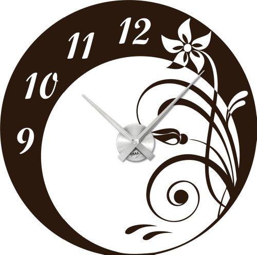 Wandtattoo Uhr Wanduhr modern Kreis Design mit Blumen Ornament Deko