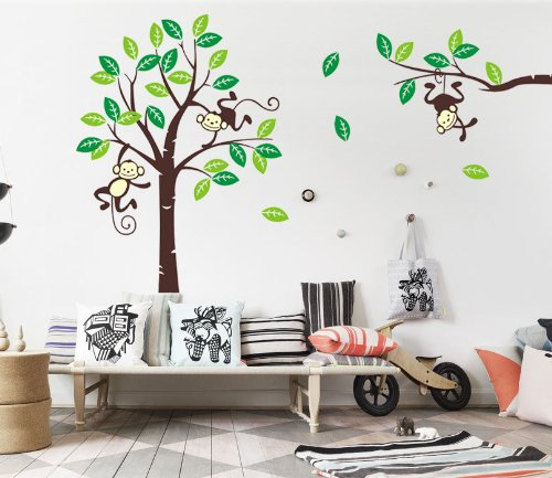 besonderes wandtattoo affe ffchen im baum. Black Bedroom Furniture Sets. Home Design Ideas