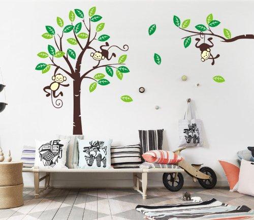 WallStickersDecal® Dschungel Wald Tier Affe Auf Bunten Wandaufkleber  170cm(H)(große)