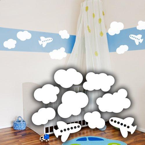 Wandkings Wandtattoo 5 Wolken und 2 Flugzeuge im Set 50 x 35 cm weiß
