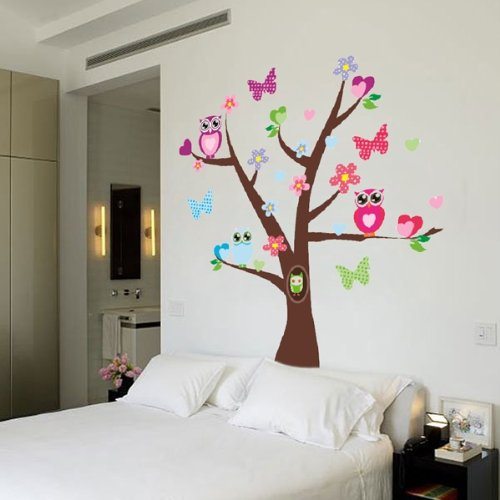 wandtattoo eule auf ast baum f rs kinderzimmer oder wohnzimmer. Black Bedroom Furniture Sets. Home Design Ideas