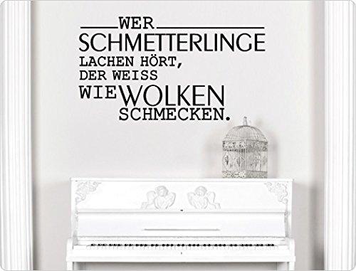 Wandtattoo Wolke Weiß : loveWandtattoo 11298 Wandtattoo Spruch Wer Schmetterlinge lachen