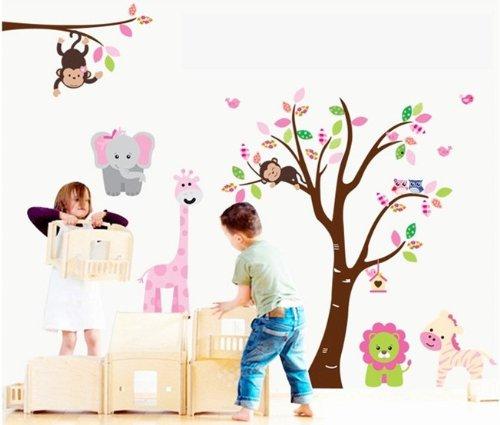 colorfulworld xxxl jungle tiere affe elefant giraffe wald pvc wandtattoo wandaufkleber. Black Bedroom Furniture Sets. Home Design Ideas