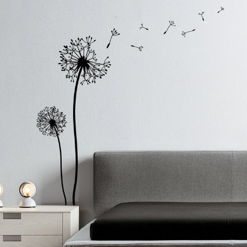 wandtattoo pusteblume mit schmetterling oder v gel. Black Bedroom Furniture Sets. Home Design Ideas