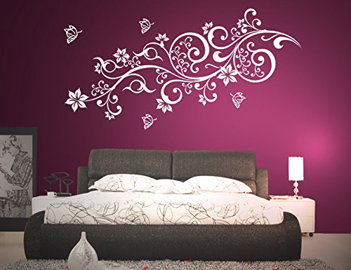 wandtattoo blumen ornament lila schwarz. Black Bedroom Furniture Sets. Home Design Ideas