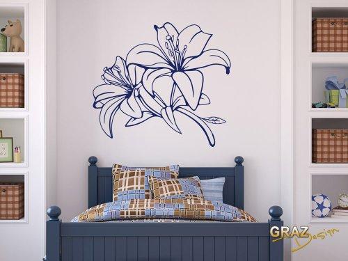 wandtattoo wohnzimmer braun:Wandtattoo Blume Schlafzimmer Lilie Blüte ...
