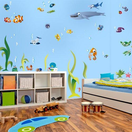 Wandtattoo delfin f r bad oder kinderzimmer - Wandtattoo unterwasserwelt kinderzimmer ...