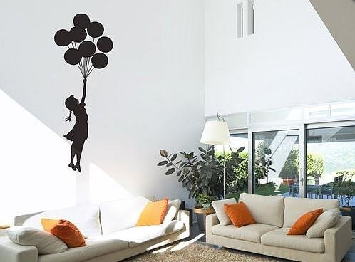 Ein banksy wandtattoo in der wohnung begeistert - Wandtattoo ballon ...