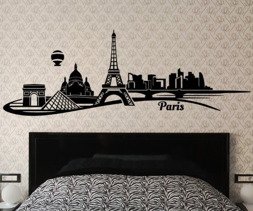 verschiedene wandtattoo paris skyline mit eifelturm. Black Bedroom Furniture Sets. Home Design Ideas