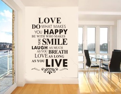Blansdi Tun, was glücklich macht Be With Who Makes You Smile, wie Atem so lange wie Easy Übernehmen Wandaufkleber Wandsticker für Home Decor  8083 / 86 * 56cm/Love/House Rule