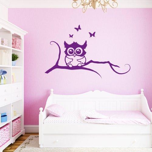 wandtattoo eule mit schaukel oder namen in lila. Black Bedroom Furniture Sets. Home Design Ideas