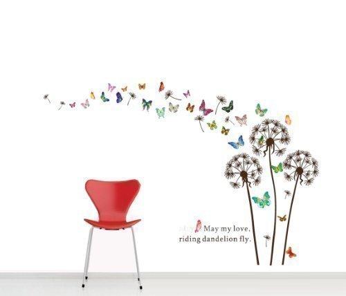 Wandtattoo pusteblume mit schmetterling oder v gel for Pusteblume dekoration