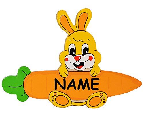 Namensschilder Aus Holz FUr Kinderzimmer ~ Türschild  Namensschild  Wandbild  aus Holz  Hase mit Karotte