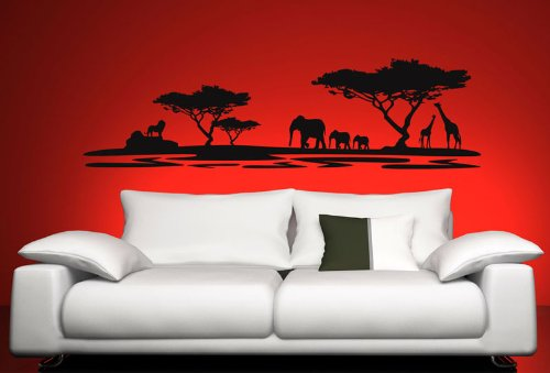 Wandtattoo ArtNr 3002 Afrika, 126 X 30 Cm, Farbe: Schwarz