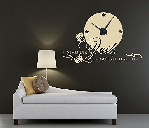 Wandtattoo Silber Blumen : Wandtattoo Uhr Nimm Dir Zeit, mit Blumen (Uhr Silber gebürstet