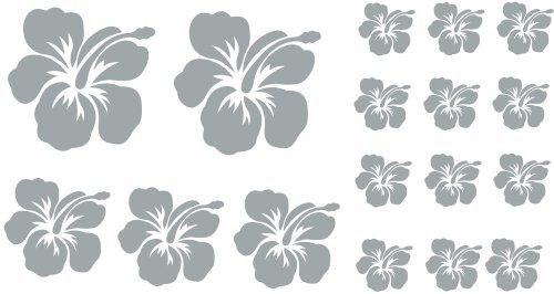 Silber 17 Stück HIBISKUS Blüten Autoaufkleber Blumen oder Wandtattoo