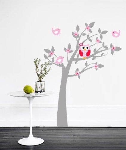 s e eule mit spatzen im baum rosa xxl 200cmx140cm. Black Bedroom Furniture Sets. Home Design Ideas